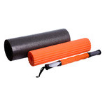 Йога роллер набор 3 в 1 PowerPlay 4022 Черно-Оранжевый фото №4