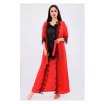 Комплект Эмилия большие размеры Ghazel 17111-52/8 Размер 48 красный халат/черный пеньюар фото №4