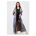 Комплект Эмилия Ghazel 17111-52 Размер 44 серый халат/черный пеньюар фото №4