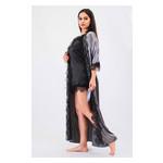 Комплект Эмилия большие размеры Ghazel 17111-52/8 Размер 48 серый халат/черный пеньюар фото №5