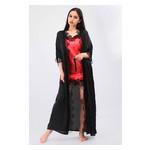 Комплект Эмилия Ghazel 17111-52 Размер 44 черный халат/красный пеньюар фото №4