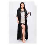 Комплект Эмилия Ghazel 17111-52 Размер 46 черный халат/кремовый пеньюар фото №3