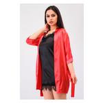 Комплект Лиана большие размеры Ghazel 17111-56/8 Размер 48 красный халат/черный пеньюар фото №4