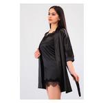 Комплект Лиана большие размеры Ghazel 17111-56/8 Размер 48 черный халат/черный пеньюар фото №1