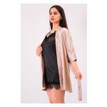 Комплект Лиана Ghazel 17111-56 Размер 44 натуральный халат/черный комплект фото №2
