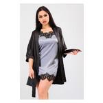Комплект Лиана Ghazel 17111-56 Размер 44 черный халат/серый пеньюар фото №1