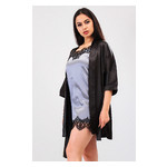 Комплект Лиана Ghazel 17111-56 Размер 44 черный халат/серый пеньюар фото №2