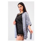 Комплект Лиана Ghazel 17111-56 Размер 46 серый халат/черный пеньюар фото №5