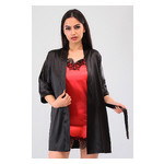 Комплект Лиана Ghazel 17111-56 Размер 42 черный халат/красный пеньюар фото №4