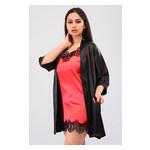 Комплект Лиана Ghazel 17111-56 Размер 44 черный халат/красный пеньюар фото №5
