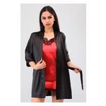 Комплект Лиана Ghazel 17111-56 Размер 44 черный халат/красный пеньюар фото №4