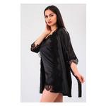 Комплект Милада большие размеры Ghazel 17111-57/8 Размер 48 черный халат/черный пеньюар фото №1