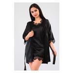 Комплект Милада большие размеры Ghazel 17111-57/8 Размер 48 черный халат/черный пеньюар фото №2