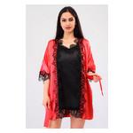 Комплект Милада большие размеры Ghazel 17111-57/8 Размер 50 красный халат/черный пеньюар фото №2