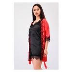 Комплект Милада Ghazel 17111-57 Размер 44 красный халат/черный пеньюар фото №2