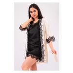 Комплект Милада большие размеры Ghazel 17111-57/8 Размер 48 кремовый халат/черный пеньюар фото №1