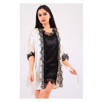 Комплект Милада большие размеры Ghazel 17111-57/8 Размер 48 кремовый халат/черный пеньюар фото №2
