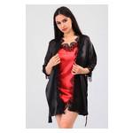 Комплект Милада Ghazel 17111-57 Размер 44 черный халат/красный пеньюар фото №4