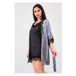 Комплект Милада Ghazel 17111-57 Размер 44 серый халат/черный пеньюар фото №2
