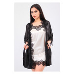 Комплект Милада Ghazel 17111-57 Размер 42 черный халат/кремовый пеньюар фото №3