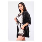 Комплект Милада Ghazel 17111-57 Размер 44 черный халат/кремовый пеньюар фото №4