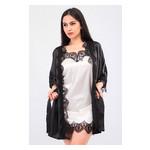 Комплект Милада Ghazel 17111-57 Размер 44 черный халат/кремовый пеньюар фото №3