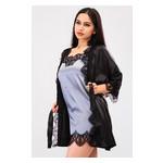 Комплект Милада Ghazel 17111-57 Размер 42 черный халат/серый пеньюар фото №2