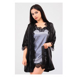 Комплект Милада Ghazel 17111-57 Размер 46 черный халат/серый пеньюар фото №1