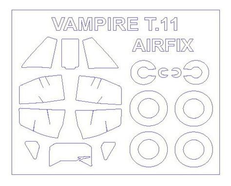 Маска для модели самолета KVB De Havilland Vampire T.11 (KVM72535)