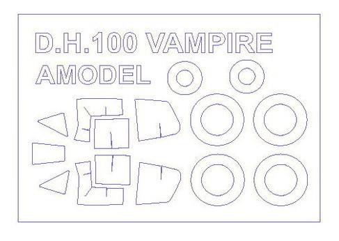 Маска для модели самолета KVB DH.100 Vampire (Amodel) (KVM72534)
