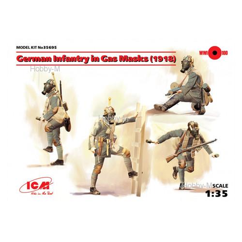 Модель ICM Германская пехота в противогазах 1918 г. (ICM35695)