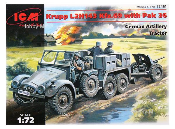 Модель ICM Немецкий трактор Krupp L2H143 Kfz.69 с пушкой PaK-36 (ICM72461)