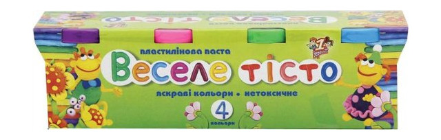 Пластилиновая паста 1 Вересня Веселое тесто 4цв. 60гр. (540244)