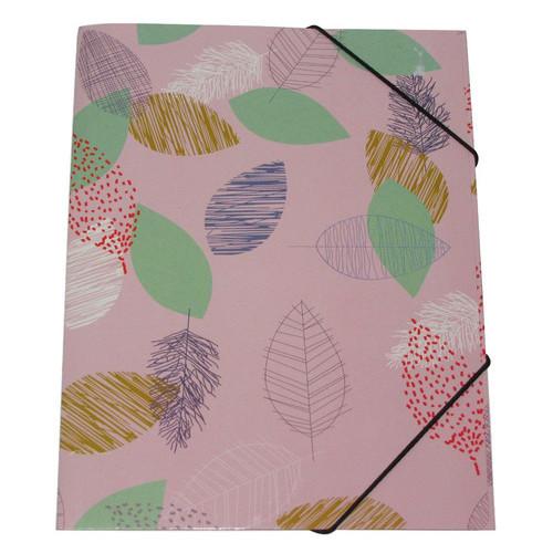 Папка на резинках Листья А4 Penny 31,5х23,5х3см Светло-розовый