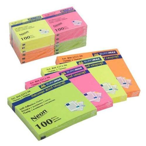 Бумага для заметок Buromax NEON 76х76мм, (100 листов), ассорти