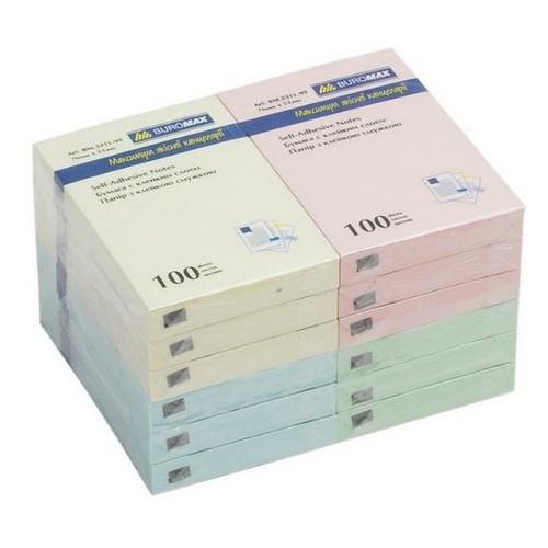 Бумага для заметок Buromax 76х127мм, (100 листов), ассорти