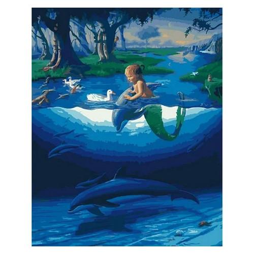 Картина по номерам Rainbow Art Маленький русал с дельфинамы (GX28270-RA)