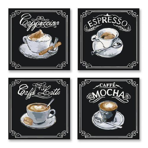 Набор для росписи по номерам Полиптих Вкусный кофе Идейка KNP001