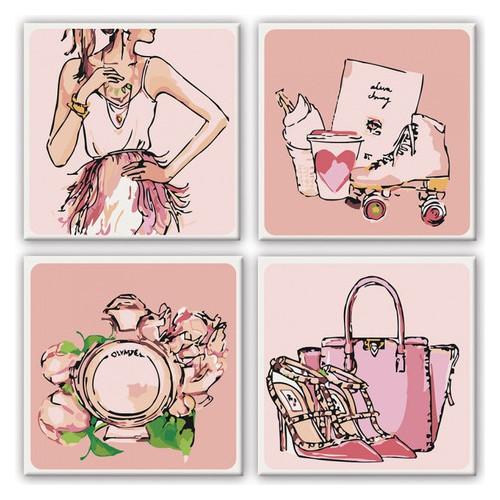 Набор для росписи по номерам Полиптих Розовые мечты 4 шт Идейка KNP015