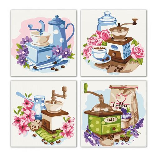 Набор для росписи по номерам. Идейка Полиптих Цветочный кофе 4шт 18*18см (KNP018)