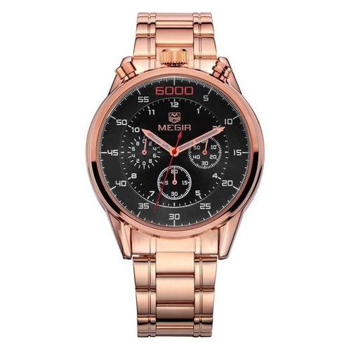 Часы Megir Gold Black Gold MG3005 SS MS3005GRE-1N0