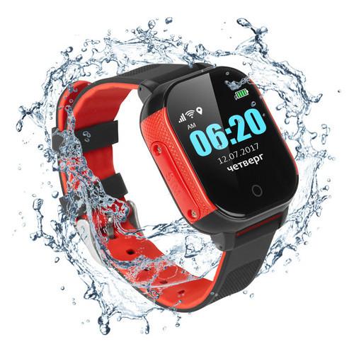 Детские водонепроницаемые смарт-часы с GPS Jetix DF50 Ellipse Aqua (Black-Red)