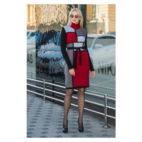 Платье KAPRA вязанное Кубики бардо+кофе универсал Бордо