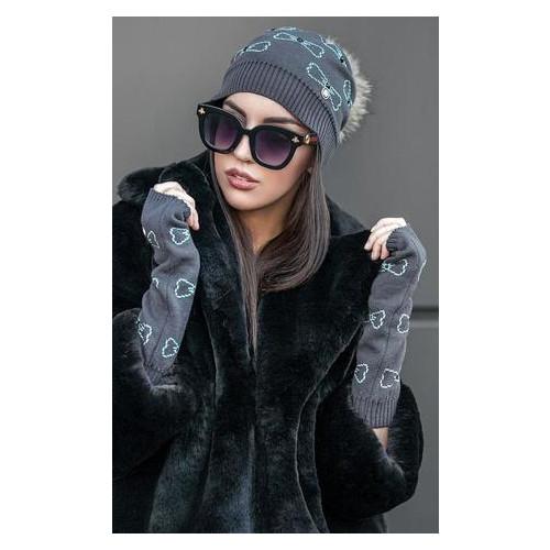 Комплект Irmana №210 шапка+минетки серый+мята универсал Серый