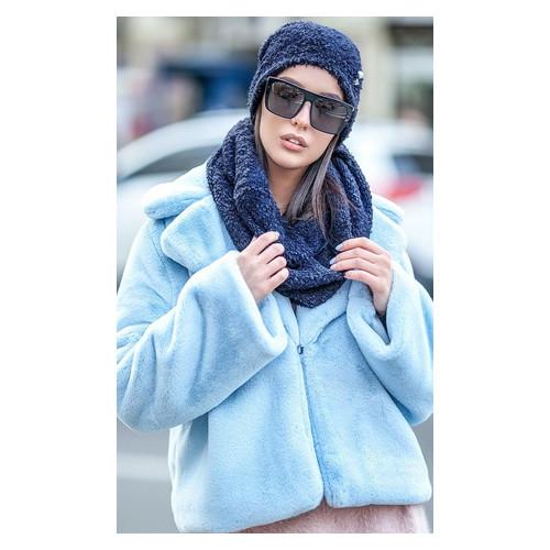Комплект Irmana №227 букле шапка+ шарф-хомут универсал Синий