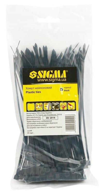 Хомут Sigma нейлон 3,6х150мм (100 штук) черный (2502121)
