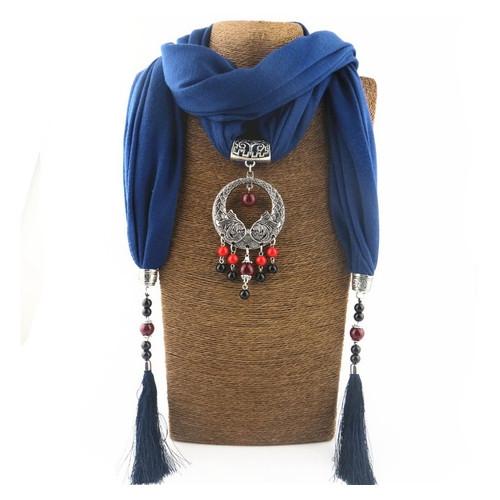 Женский шарф-платок Runmeifa SW940 с подвесным ожерельем, синий