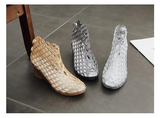 Модные прозрачные силиконовые босоножки туфельки оригинального дизайна, 36-41 (ОБ-067)