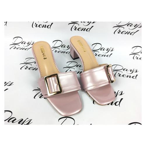 Стильные лакированные босоножки шлепанцы на каблуке 37-39 (ОБ-082)