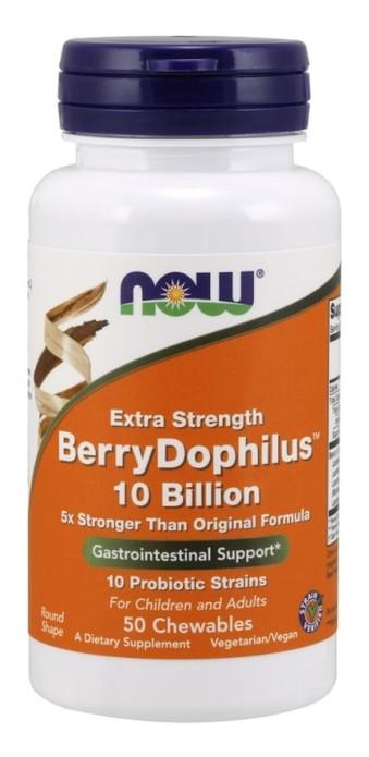 Специальный продукт NOW BerryDophilus  Extra Strength 10 Billion Chewables  50 таблеток (4384301179)